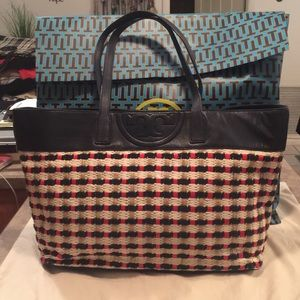 Tory Burch Navy Leather Straw Shopper Tote Bag